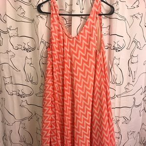 💞 NWOT Coral pink and white chevron dress 💞